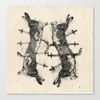 boxing Canvas Prints featuring Boxing Hares. by NVM Illustration