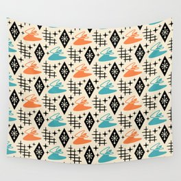 Mid Century Modern Space age Boomerang Pattern Orange and turquoise 121 Wall Tapestry
