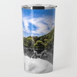 Slovenia River Mountains Reflection Photograph Color/Black & White Mashup Travel Mug