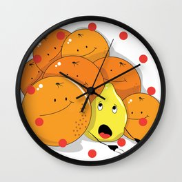 Lemon squeezed by Oranges Wall Clock
