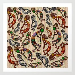 Kokopelli Rainbow Colors on Tribal Pattern  Art Print