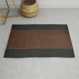 Brown & Black Stitched Leather Rug