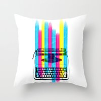 typewriter Throw Pillows featuring Typewriter by Elizabeth Cakovan
