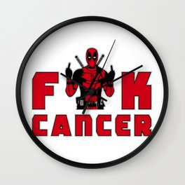Deadpol fuck cancer Wall Clock