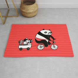 Cacti delivery. Panda on bicycle. Rug