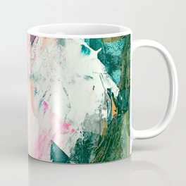 Meditate [2]: a vibrant, colorful abstract piece in bright green, teal, pink, orange, and white Coffee Mug