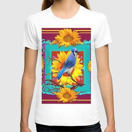 Decorative Ornate  Burgundy-Blue Jay Sunflowers T-shirt