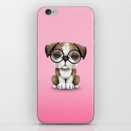 Cute English Bulldog Puppy Wearing Glasses on Pink iPhone Skin