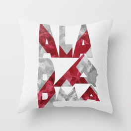 Alabama Typographic Flag Map Throw Pillow