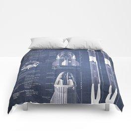 NASA SpaceX Crew Dragon Spacecraft & Falcon 9 Rocket Blueprint in High Resolution (dark blue) Comforters