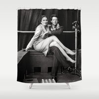 wes anderson Shower Curtains featuring WES & ANJELICA by VAGABOND
