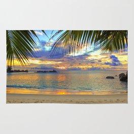 Beach - Palm Trees - Ocean - Blue Sky - Sundown - Sunset Rug