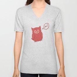 Fluffy Red Owl Unisex V-Neck