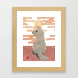 DOG, Pink Sunset, Mixed Media  Framed Art Print