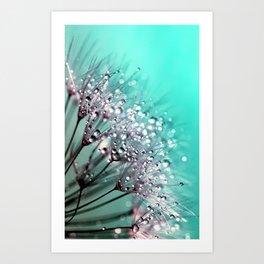 Diamond Blue Water Droplets Art Print