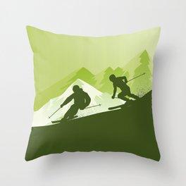 Best Skiing Design Ever • Winter Sport • Green Throw Pillow