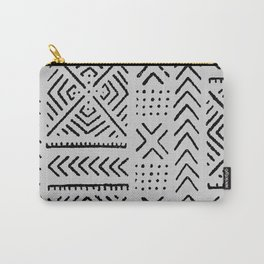Line Mud Cloth // Light Grey Carry-All Pouch