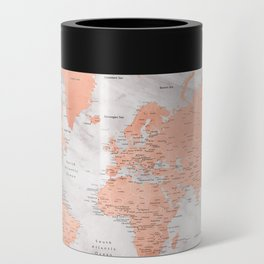"""Adventure awaits world map in rose gold and marble, """"Janine"""" Can Cooler"""