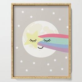 Moon art print, shooting star art print, girls wall art, grey nursery, kids wall art, rainbow art Serving Tray