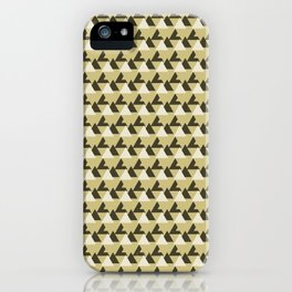 Gold and White Abstract Triangles Geometric Pattern iPhone Case