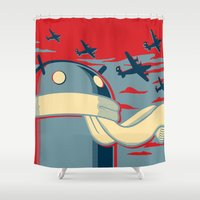 propaganda Shower Curtains featuring Code for Victory Propaganda by Dimko