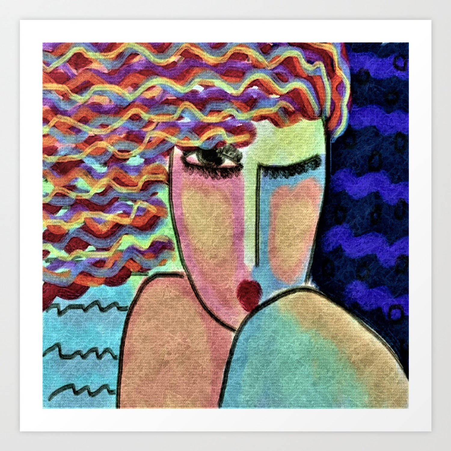 Portrait Of A Wild Woman Abstract Digital Painting Art Print By Jackieludtke Society6