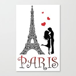 Couple and Eiffel Tower. Canvas Print