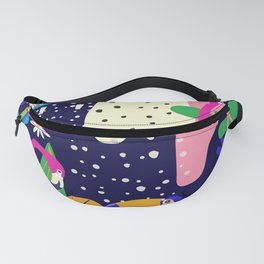 Colorful tropical forest flamingos and parrot Fanny Pack