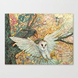 The Playground _ Raven, Owl, Chickadee Canvas Print