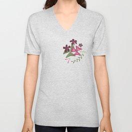 Shamrock Floral Layered Pattern / Purple Unisex V-Neck