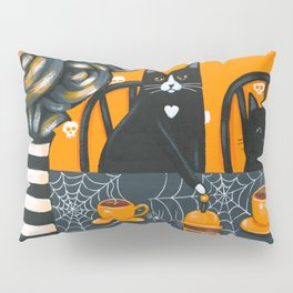Halloween French Press Coffee Cats Pillow Sham