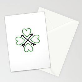 St. Patrick's Day Shamrock Lucky Charm Green Clover Veart with Arrows Stationery Cards