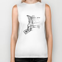 shopping Biker Tanks featuring Shopping Cart by Brontosaurus