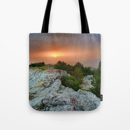 Sunset at the mountains. Under the rain Tote Bag