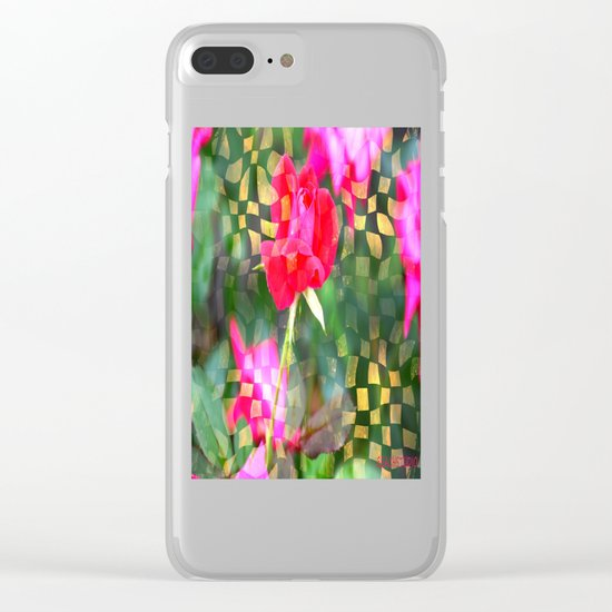 Checkered Rose Clear iPhone Case
