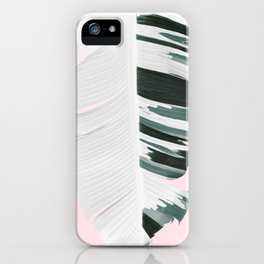 White Green Pastel Tropical Banana Leaves Design iPhone Case