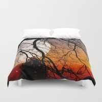 sun and moon Duvet Covers featuring Sun, moon and stars  by Pirmin Nohr