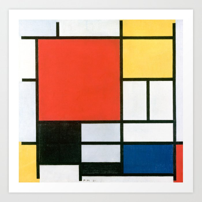 Piet Mondrian, Composition in red, yellow, blue and black Art Print