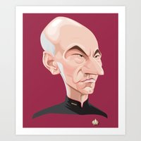 picard Art Prints featuring Captain Jean-Luc Picard by Greene Graphics