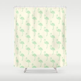 American Flamingo (green) Shower Curtain