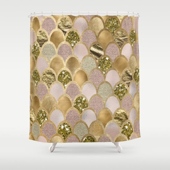 Rose gold glittering mermaid scales Shower Curtain by peggieprints ...
