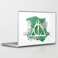 deathly hallows Laptop & iPad Skins featuring The Deathly Hallows (Slytherin) by FictionTea