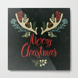 Christmas illustration with anlters Metal Print
