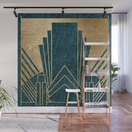 Art Deco glamour - teal and gold Wall Mural