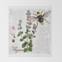 Cottage Style Thyme, Bumble Bee, Hummingbird, Herbal Botanical Illustration Throw Blanket