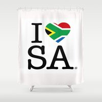 south africa Shower Curtains featuring I LOVE SOUTH AFRICA by ROGUE AFRICA
