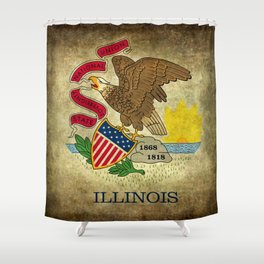State flag of Illinois with grungy vintage textures Shower Curtain