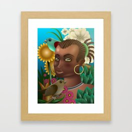 Flower girl in a tropical forest Framed Art Print
