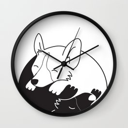 Corgi Dog Yin Yang Wall Clock