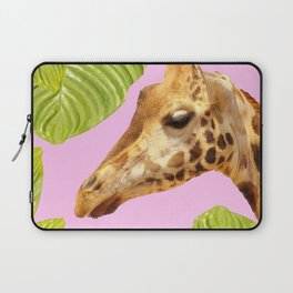 Giraffe with green leaves on a pink background Laptop Sleeve